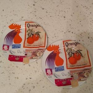 Rosanna French Vintage Ads Rooster & Orange Plates